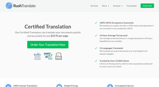 RushTranslate.com screenshot